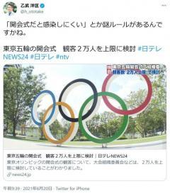 「東京五輪の開会式 観客2万人を上限に検討」のニュースに乙武洋匡さん「『開会式だと感染しにくい』とか謎ルールがあるんですかね」