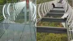 中国の「ガラス橋」が崩壊、男性が高さ100mで立ち往生のイメージ画像
