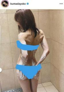 熊田曜子がシャワールームでなまめかしい背中…アワアワのバックショット公開のイメージ画像