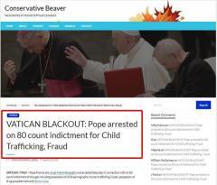 カナダのメディア「ローマ教皇が児童ポルノ所持、人身売買、近親相姦で逮捕」と報道 → 何もかもフェイクでしたのイメージ画像