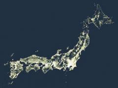 日本って、こんな風になってるんだ 「人が住んでいるところを光らせた地図」が超興味深いのイメージ画像