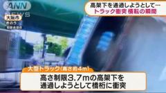 運転手けが 橋桁に衝突…トラック横転の瞬間 大阪のイメージ画像